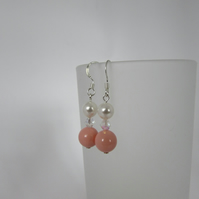 White, Coral Pink Swarovski Pearl & Crystal Earrings. Coral Pink Jewellery