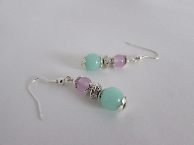 Turquoise & Lilac Quartzite Earrings, Lilac Jewellery, Lilac Jewelry, Lilac Gift