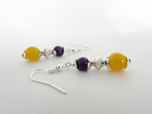 Yellow Quartzite & Amethyst Earrings, 50% off all items with code SALE17