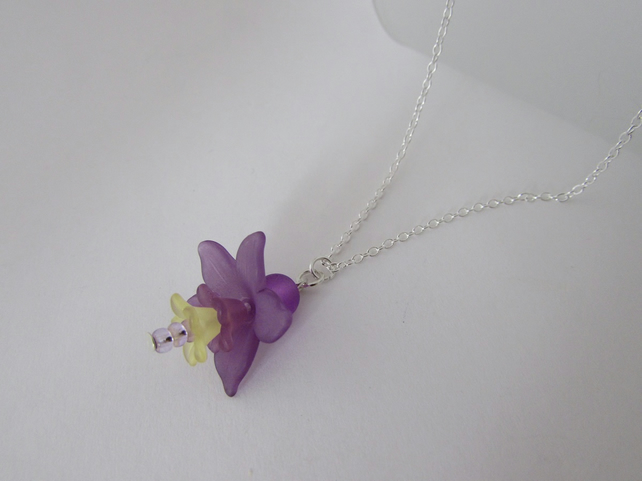 Flower Necklace, Purple & Yellow Flower Necklace, Flower Jewellery, Flower