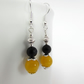 Yellow Quartzite & Black Onyx Earrings