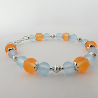 Pale Blue & Orange Glass Bead Bracelet