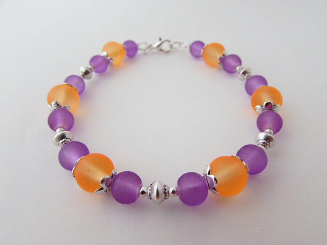 Purple & Orange Glass Bead Bracelet, Purple Bracelet, Orange Bracelet