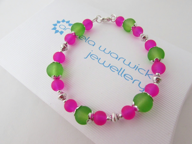 Receive 50% off with code SALE17 Hot Pink & Green Bead Bracelet, Pink Bracelet