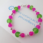Hot Pink & Green Glass Bead Bracelet