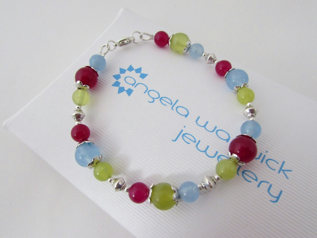Receive 50% off with code SALE17 Blue, Yellow Olive & Fuchsia Quartzite Bracelet
