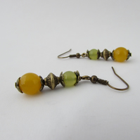 Yellow & Yellow Olive Quartzite Earrings, Yellow Earrings, Olive Green Earrings