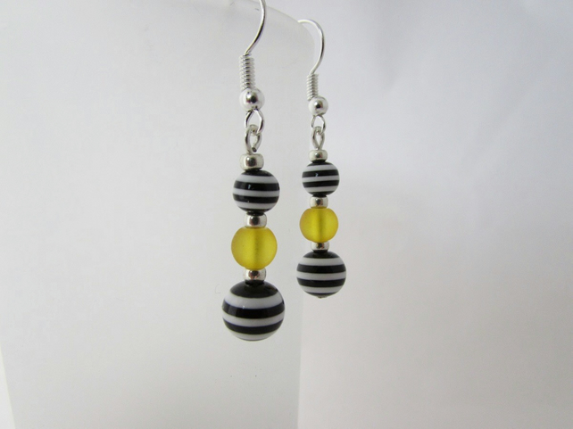 Yellow, Black & White Striped Earrings, Yellow Earrings, Black and Whte, Striped