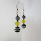 Yellow, Black & White Striped Earrings