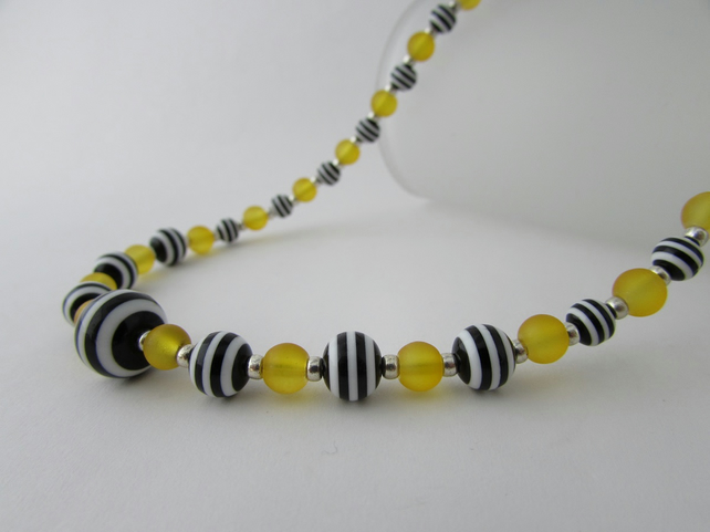 Yellow, Black & White Striped Necklace. Striped Necklace, Striped Jewellery