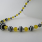 Yellow, Black & White Striped Necklace.