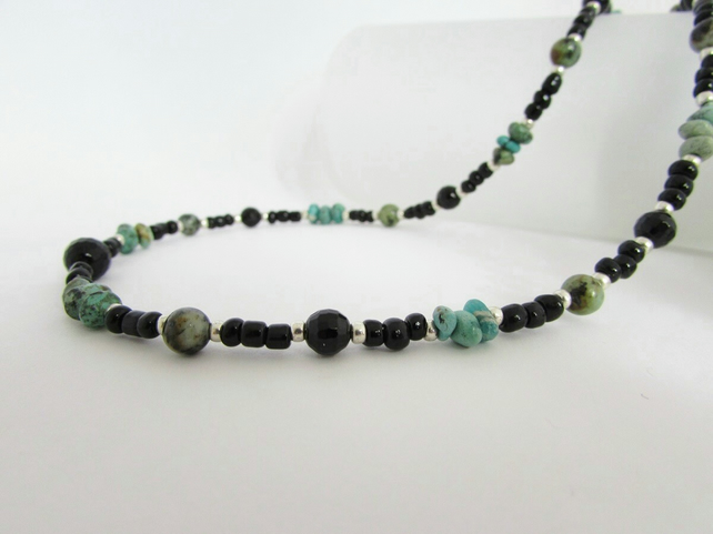 African Turquoise, Black Onyx & Sterling Silver Necklace. Turquoise Necklace