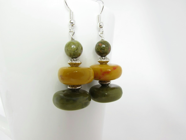 Unakite & Square Bead Earrings, Unakite Earrings, Unakite Jewellery