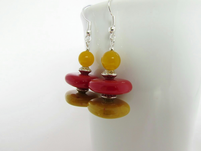 Yellow Quartzite & Square Bead Earrings, Red Earrings, Mustard Earrings, Mustard
