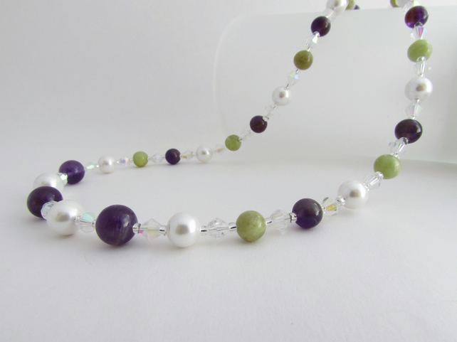 Peridot, Pearl, Amethyst & Sterling Silver Necklace, Peridot Necklace, Pearl