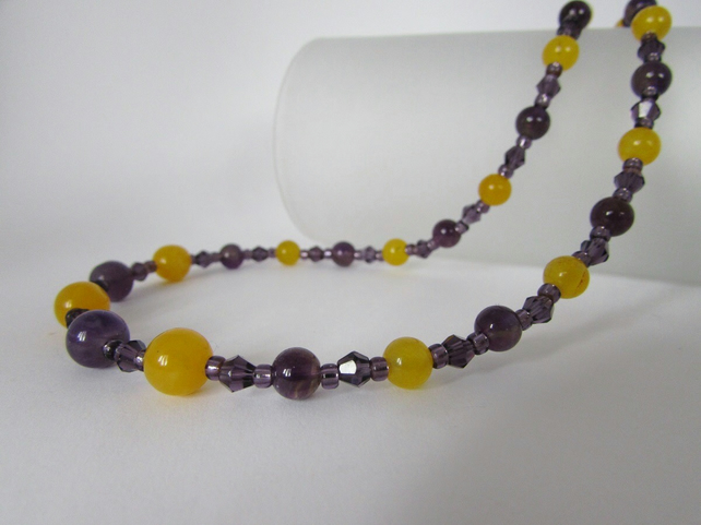 Amethyst & Yellow Quartzite Necklace, 50% off everything with code SALE17