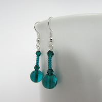 Teal Glass Earrings, Teal Jewellery, Teal Earrings, Teal Jewelry, Teal Gift