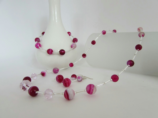 Agate Necklace, Bracelet & Earrings, Agate Necklace, Agate Bracelet, Agate