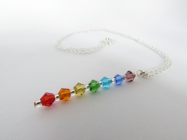 Receive 50% off with code SALE17 Chakra Necklace, Rainbow Necklace