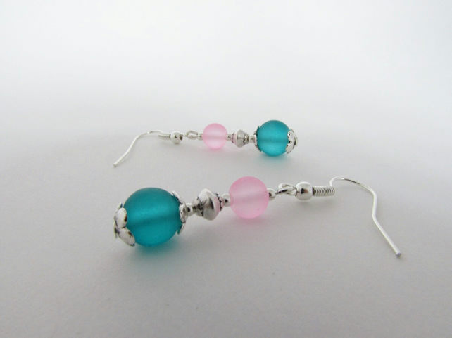 50% off all items with code SALE17 Sea Green & Pale Pink Earrings, Pink Earrings
