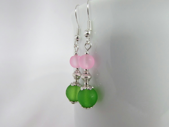 Green & Pale Pink Earrings, Pink Earrings, Green Earrings, Pink Jewellery, Green