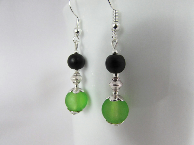 50% off all items, use code SALE17 Green & Black Earrings, Black Earrings, Green