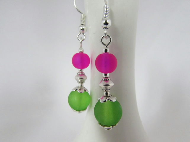 Green & Hot Pink Earrings, Hot Pink Jewellery, Green Earrings, Hot Pink Gift