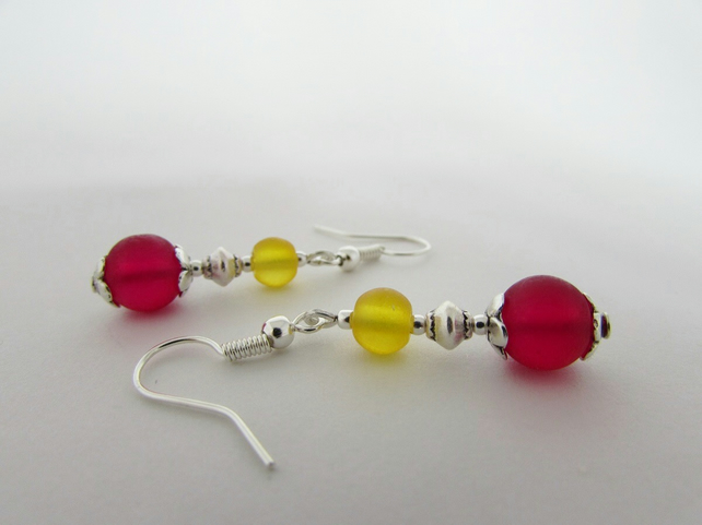Deep Pink & Yellow Earrings, Deep Pink Earrings, Yellow Earrings, Yellow Jewelry