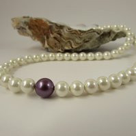 Pearl Necklace, Cream Pearl & Sterling Silver Neckace