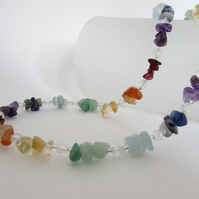 Rainbow Necklace, Chakra Necklace, SALE ITEM 25% off - Chakra Gemstones