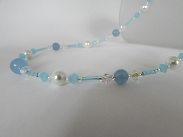 Pearl & Blue Quartzite Necklace, Pale Blue Necklace, Pale Blue Jewellery