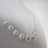 White Pearl Necklace, June Birthstone, Pearl Wedding, Pearl Jewellery