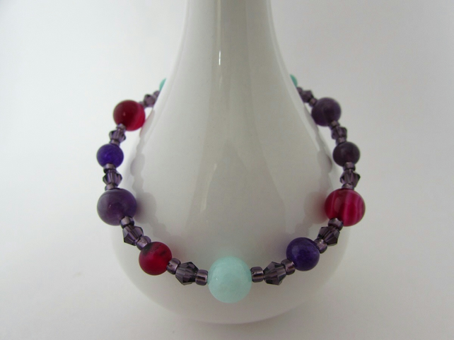 Receive 50% off with code SALE17 Amethyst, Agate, Quartzite & Silver Bracelet
