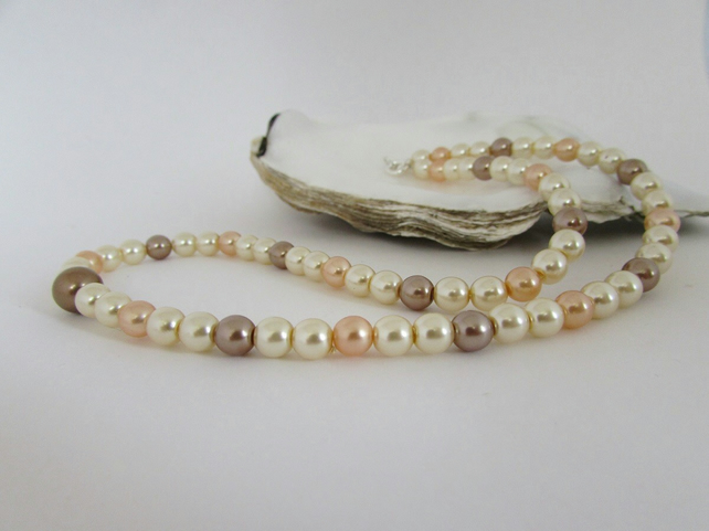 50% off all items with code SALE17 Pearl Necklace, Bronze Pearl, Peach, Mink