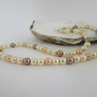 Pearl Necklace, Bronze Pearl, Peach Pearl, Mink Pearl, Cream Pearl Necklace,