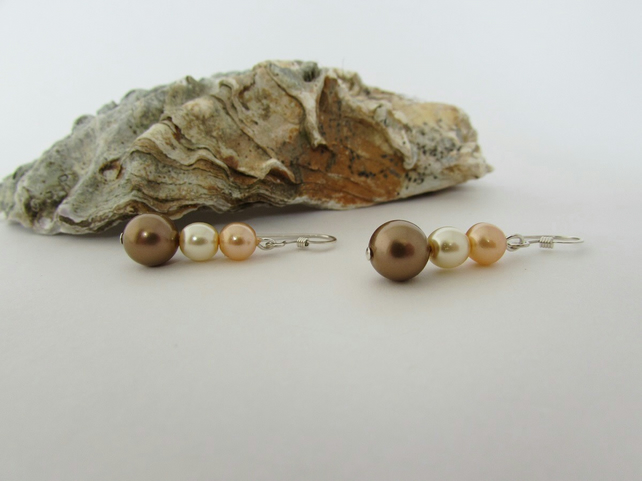 50% off all items with code SALE17 Pearl Earrings, Peach Earrings, Peach, Bronze