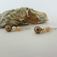 Cream, Bronze & Peach Pearl Earrings, Peach Earrings, Peach Jewellery, Peach