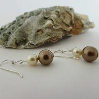 Cream & Bronze Pearl Sterling Silver Earrings.Cream pearl, Bronze Pearl, Cream