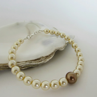 50% off all items with code SALE17 Pearl & Sterling Silver Bracelet, Bronze