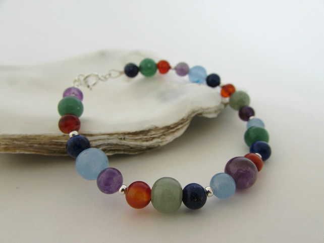 Receive 50% off with code SALE17 Mixed Gemstone Sterling Silver Bracelet
