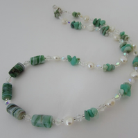 50% off items with code SALE17 Chrysoprase, Freshwater Pearl & Silver Necklace