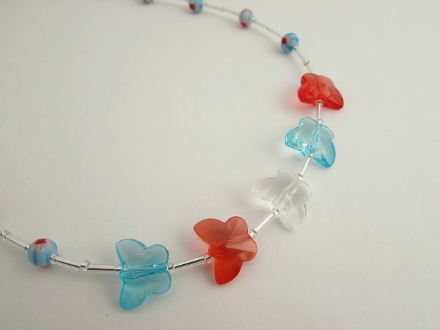 Butterfly Necklace. Butterfly Jewellery, Butterfly Gift, Blue & Red, Blue Gift