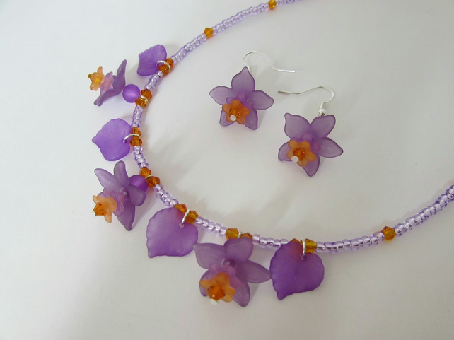 SALE ITEM Purple & Orange Flower Necklace & Earrings, Flower Jewellery