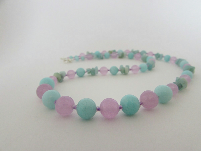 Amazonite, Lilac Quartzite Necklace 50% off everything with code SALE17