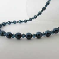 Midnight Blue Pearl Necklace, Blue Pearl Necklace, Pearl Necklace, Pearl, Silver