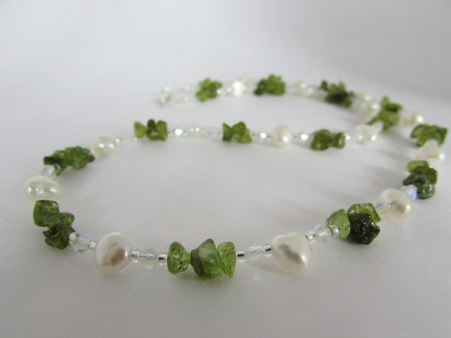 Peridot, Freshwater Pearl & Sterling Silver Necklace, Peridot Necklace, White