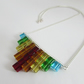 Rainbow Necklace, Rainbow Cube Necklace, Rainbow Glass Bead Necklace.