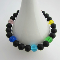 Receive 50% off with code SALE17 Onyx Unisex Rainbow bracelet Chakra Bracelet 8""