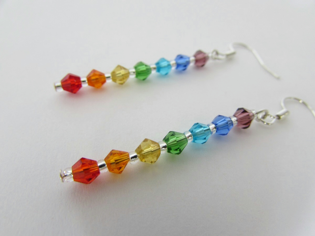 50% off all items, use code SALE17 at checkout Chakra Earrings, Rainbow Earrings