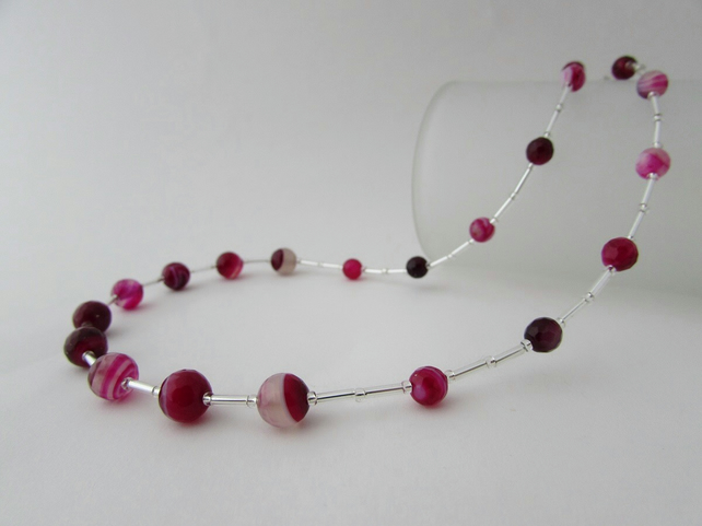 Agate Necklace, Fuchsia Agate Necklace. Agate Jewellery, Agate Jewelry, Pink